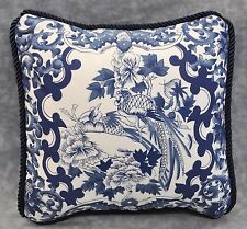 "Pillow made w Ralph Lauren Porcelain Navy Blue & White Fabric- 9"" Square-New"