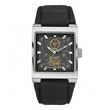 New Authentic GUESS Men Layered Dial Black Leather Watch U90023G1 , New with Tag