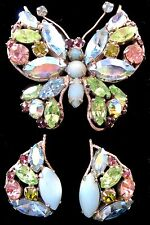 OMG FAB Vintage REGENCY Blue Green Rhinestone Butterfly Clip Earrings DEMI