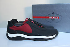 New sz 11 US / 10 UK Prada Black & Red Runner Punta Ala Lace up Sneaker MEN Shoe