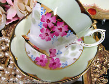 ROYAL ALBERT TEA CUP AND SAUCER CROWN CHINA PAINTED PINK BLOSSOMS TEACUP