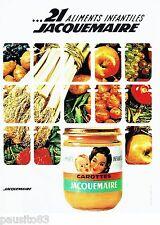 PUBLICITE ADVERTISING 116  1962  Jacquemaire petits pots bébé aliments enfantile