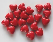 10 Acrylic Charm Beads Love Heart Red 11x10mm