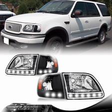 97-03 Ford F-150 F150 SVT Harley Davidson Black LED Headlights & Corner Lights