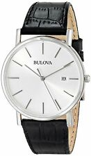 New Bulova 96B104 Classic Silver Dial Genuine Black Leather Strap Men's Watch