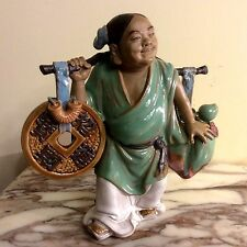 """Vintage Chinese Porcelain Figurine 8 1/2"""" Tall holding a peach and a drum."""