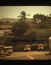 Vintage 35mm Slide Old Classic Jeeps Cars Hotel Resort Palm Trees Umbrellas 1979