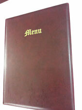 A4 MENU COVER/FOLDER IN BURGUNDY LEATHER LOOK PVC - OLD ENGLISH LOOK