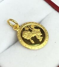 24K Solid Yellow Gold Cute Animal Sign Round Monkey Charm/ Pendant. 1.76 Grams