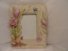 """Contemporary Gray Tabletop Crocus Picture Frame 3 D Floral 5.5 x 3.5"""" Opening."""