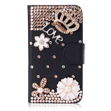 3D Bling Crystal Diamonds Pearls PU leather flip slot stand wallet case cover #G