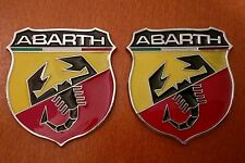 2pcs set ABARTH (FIAT) 3D metal grill fender hood emblem logo insignia decal