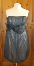MONSOON pewter grey satin tulle puffball bubble prom party dress strapless 14 42