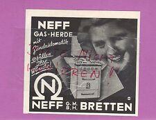 BRETTEN, Werbung 1951, Neff GmbH Gas-Herde