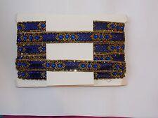 blue gold Bead Jewel Sequin Indian wedding dance costume ribbon rhinestone