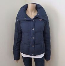 Hollister Womens Quilted Puffer Down Jacket Size Small Coat Navy Blue
