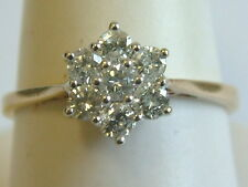 PRETTY 9CT YELLOW GOLD 0.50 CARAT  7 STONE DIAMONDS CLUSTER RING