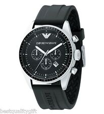 NEW EMPORIO ARMANI BLACK RUBBER CHRONOGRAPH MEN WATCH-AR0527+BOX