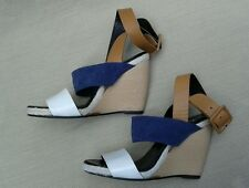 PIERRE HARDY WEDGE blue tan Sandals/Shoes, Wrap Ankle, Strappy Open Toe, Sz 7 M