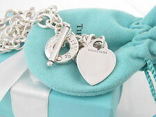 Authentic Tiffany & Co Silver 925 Heart Toggle Necklace Packaging Included