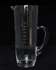 Crystal Glass Cocktail Pitcher with Etched Tall Sailing Ship Applied Handle