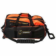 Hammer Premium Deluxe Triple Tote w/ Pouch 3 Ball Bowling Bag Black/Orange