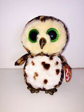 "TY SAMMY BROWN/CREAM OWL 6"" BEANIE BOOS-NEW,MINT TAG-IN HAND & SHIPPING NOW-SOFT"