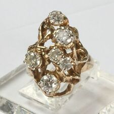Estate 10k Vintage Free-form 1.50 carat tw Genuine Diamond Ring