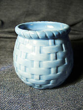 White Barn Candle Company Blue Basket Weave porcelain Bowl Candle Holder Jar EUC
