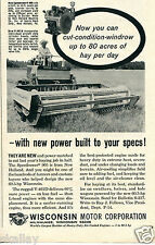 1964 Print Ad of Wisconsin Motor Co with New Holland 905 Speedrower Tractor
