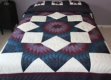 "Amish Handmade Patchwork Quilt from Lancaster Pa ""Mariners Broken Star"" 101x114"