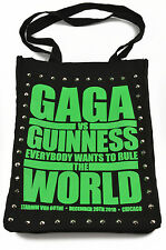 "E.vil Womens Cotton Tote Bag ""Gaga Poster Print Neon Green with Spikes"" Black"