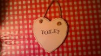 Shabby chic wooden, heart shape hanging toilet plaque