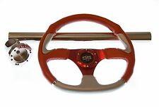 Club Car DS Red Steering Wheel/Hub Adapter/Chrome Cover Kit 1992+
