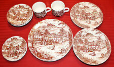 13 Piece Collection of J Broadhurst Ironstone Staffordshire Brown Swan Inn Scene