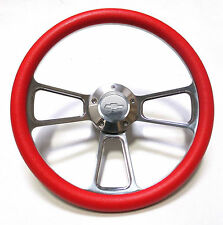 1974 - 1994 Chevy Blazer and Suburban Cool Red Steering Wheel + Billet Adapter