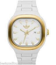 ADIDAS WHITE ACRLIC BAND,DIAL WITH GOLD ACCENT WATCH+DATE ADH2579-NEW