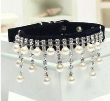 New Black Pearl and Rhinestone Diva Dog Collar Bling for Dog Pig Cat Small