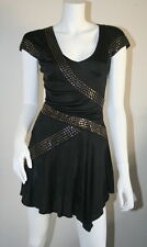 Roberto Cavalli Black Bronze Studded Asymmetrical Hem Rocker Chic Dress 38 XS