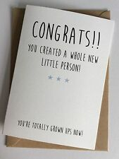 Personalised Handmade New Baby Card: Congrats Little Person (Funny Humour)