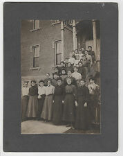 Circa 1900 Group of 26 Young Women & Leader on Stairs of Brick Building