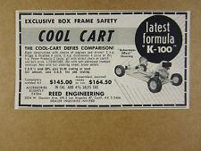 1959 reed engineering COOL-CART K-100 Go-Kart vintage print Ad