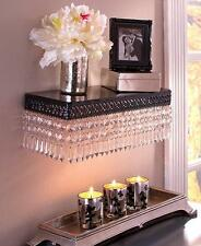 NEW Beaded Metal Floating Wall Shelf Shabby Chic Laced Black & Clear Jewels