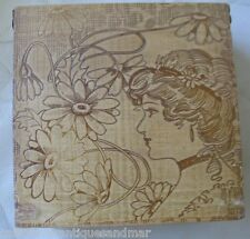 Antique Art Nouveau Gibson Girl  Woman Wood Flemish Art Pyrography Box Case NICE