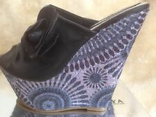 Ladies Sandals with beautiful pattened wedges in pink and black   size 6