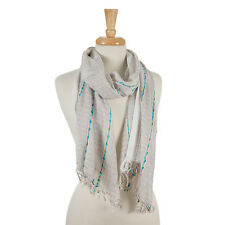 Beige and Brown Scarf with Turquoise Accents and Frayed Edges