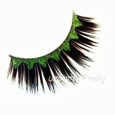 Stylish Green Black Halloween Party False Fake Eyelashes Eye Lashes Stage Makeup