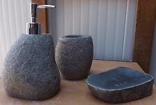 Set bagno pietra composto da dispenser porta sapone spazzolino  wc acessori