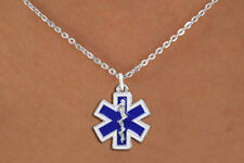 EMS Star of Life Silvertone with Blue Enamel Charm Necklace