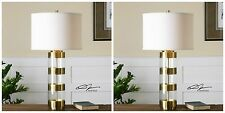 """TWO 31"""" LARGE BRUSHED BRASS & ACRYLIC TABLE LAMP CRYSTAL BASE LINEN SHADE LIGHT"""